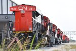 Close in Shot of the Rear Radiator Section of CN 3817 and Her Sister CN Tier 4's Lined Up in Front of Her.