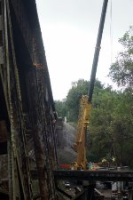 Fishing Creek trestle and crane to change out deck spans