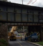 Track panel lifted off old span is set out of the way onto Campbell Ave.