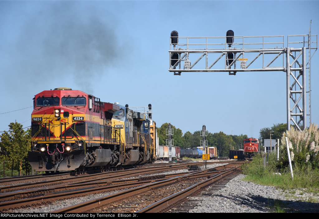 KCSM 4524 East with the KCS M-SHNS and CN A41971-16