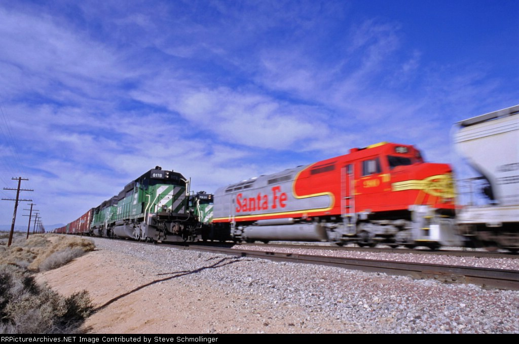 BNSF westbound meets Boron Local
