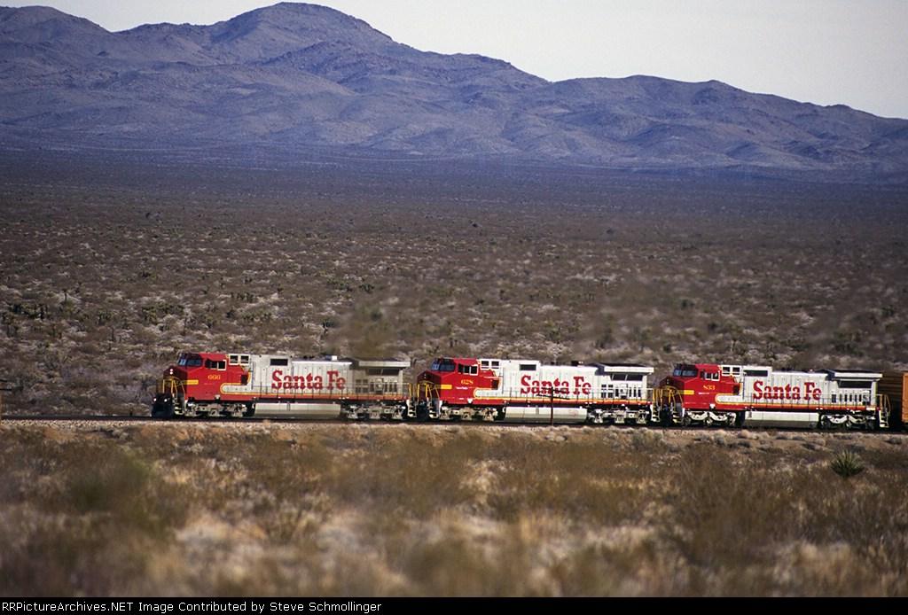 Santa Fe 666 West battles the east slope of Goffs Hills