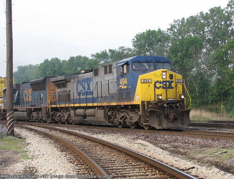 CSX 494 this is a NB intermodel on UP tracks at Dolton