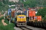 UP intermodal trains meet