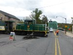 "DRR (private owner) GE 45 ton (300 HP) switcher 146 is motive power for the ""Milford Mile"" caboose excursion"