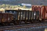 UP ore jennie (#229667) now in M of W service in a westbound UP freight train in Echo Canyon, UT. October 13, 2018 {Echtoberfest 2018}