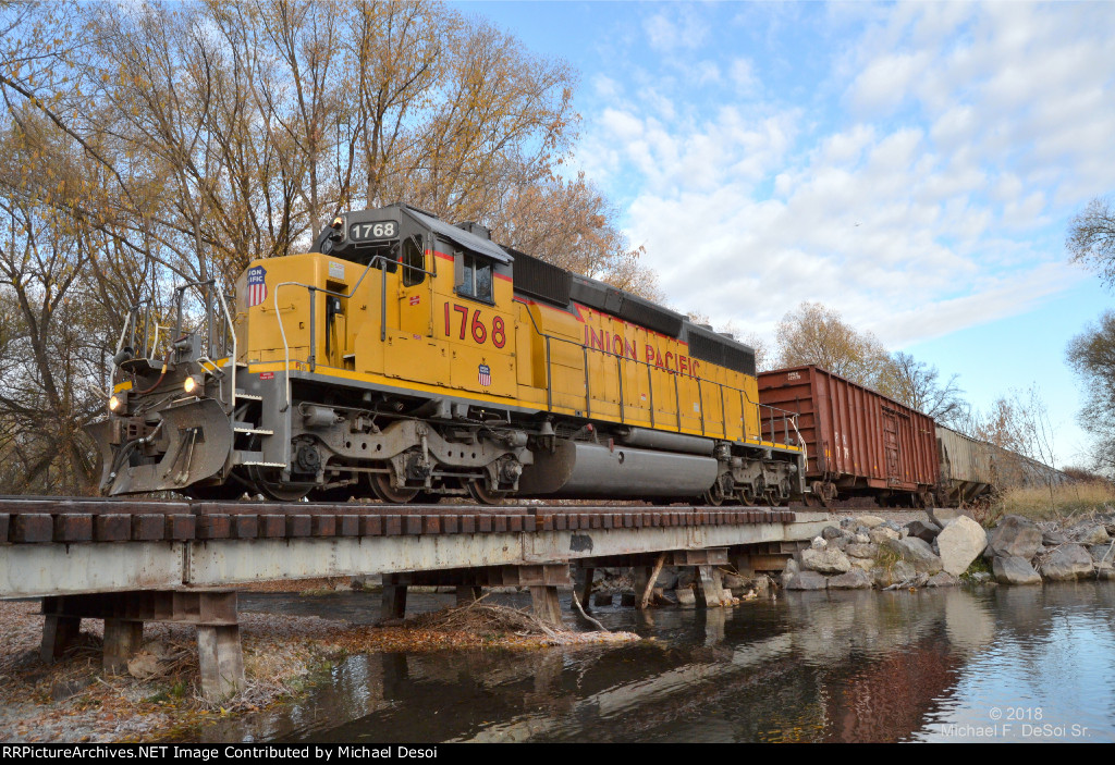 """""""Happy Birthday To Me""""  UP SD-40N #1768 leads the southbound Cache Valley Local (LUG-41D) across the Logan River in Logan, UT. on my 60th birthday, November 8, 2018"""