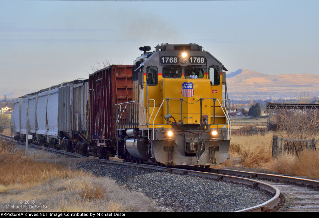 """Happy Birthday To Me""  UP SD-40N #1768 leads the southbound Cache Valley Local (LUG-41D) preparing to cross S 700 W. in Hyrum, UT. on my 60th birthday, November 8, 2018"