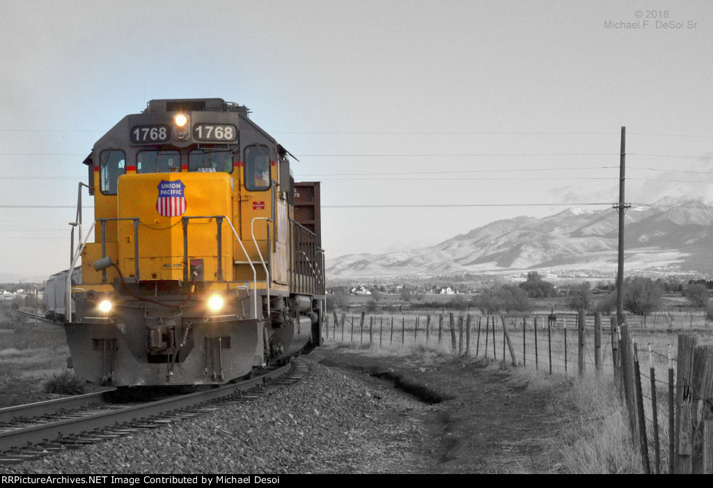 """""""Happy Birthday To Me""""  UP SD-40N #1768 leads the southbound Cache Valley Local (LUG-41D) preparing to cross S 700 W. in Hyrum, UT. on my 60th birthday, November 8, 2018"""