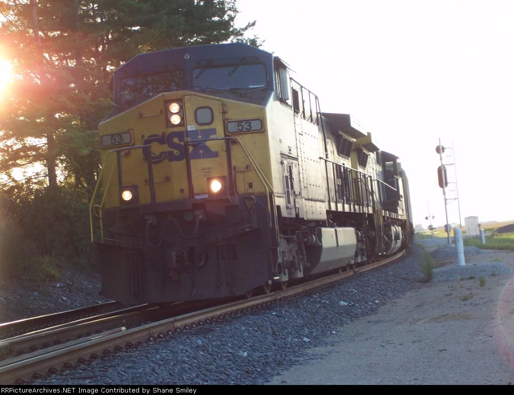 CSXT 53 comes off the Siding to head for Cincinnati, OH
