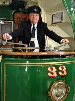 Me at the control of Ipswich Tram 33