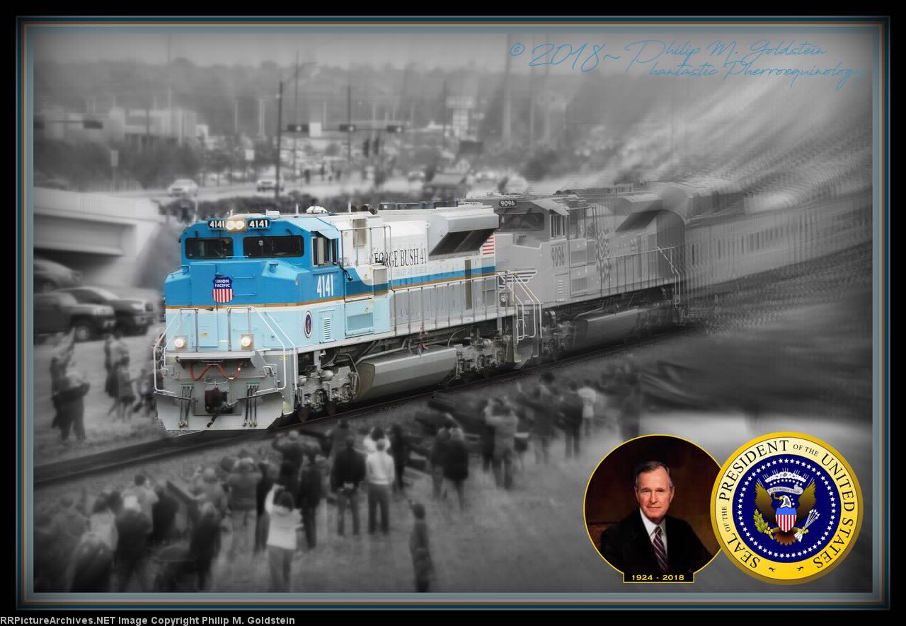UP 4141 leading the George H. W. Bush Funeral Train through College Station