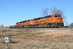 BNSF SB freight coming out of the siding