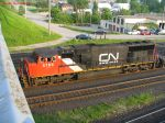CN 5766 heads under Waterdown Road bridge
