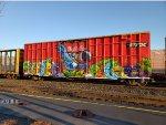 A unusual graffitied box car