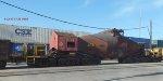 12 axle hot bottle car rolls east, CSX stacker east