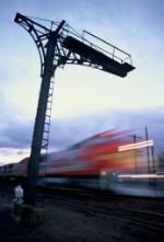 Santa Fe 199 train at dusk