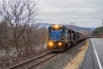 MEC 7517 leads the empty grain train west along NY Route 346 in the Hoosick River valley