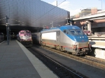 Departing Amtrak train with HHP8