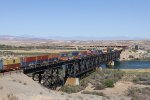 Barely in to its trip, a lengthy stack train for CSX in Chicago exits California