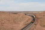 A general freight for Barstow rolls west through the Painted Desert