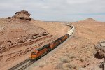 The rocks stand tall above the BNSF 3823 as Q-CHISBD7 passes
