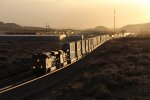 Eastbound stacks and racks glow under the evening sun