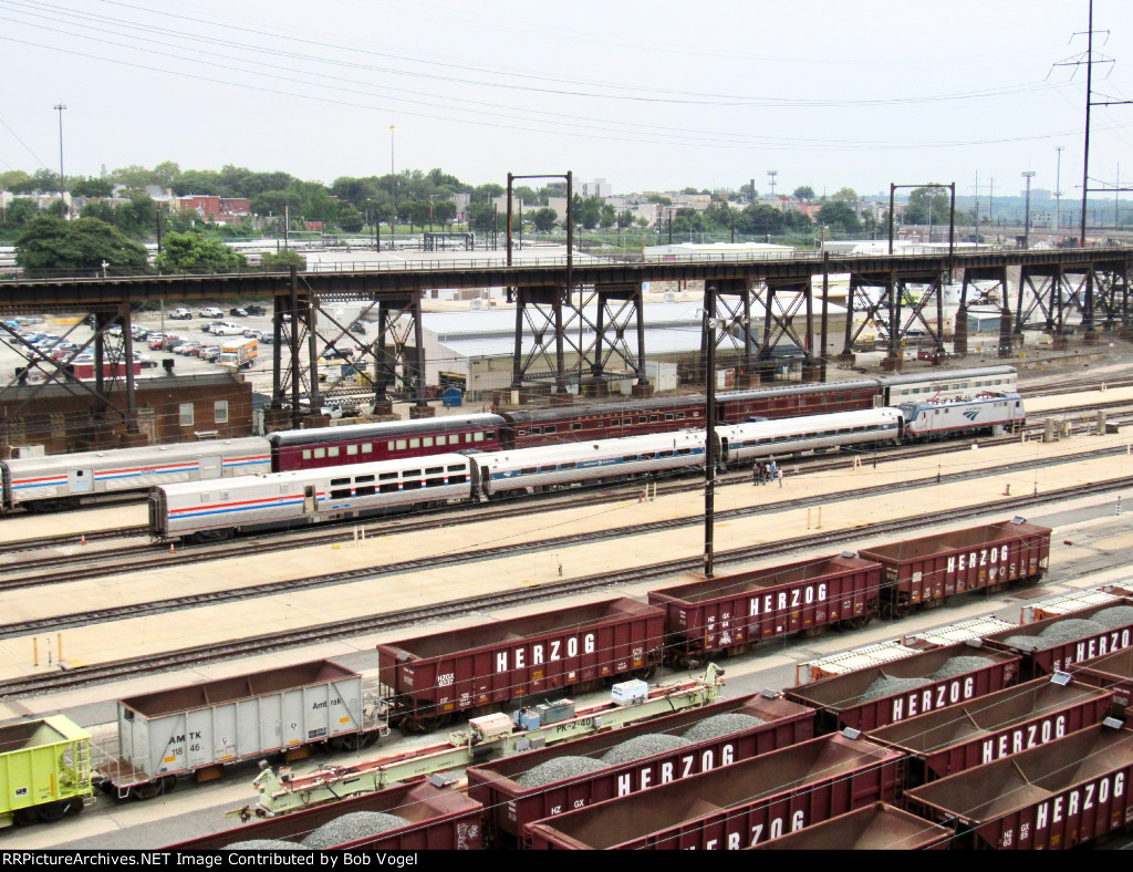 Private Varnish and Amtrak diner at Penn Coach Yard