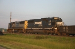NS 6678 trails the consist as they cross the state line