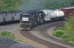 NS 2570 with Conrail a/c gains ground on coal train