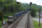 NS 9766 leads trash train west