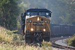 CSX 68 thunders up out of Akron.