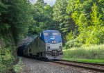 AMTK 55 leads the eastbound New England section of the Lake Shore Limited out of State Line Tunnel