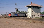 Westbound Amtrak San Joaquin passes Stockton Tower