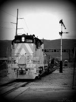 Ex Great Western (exx UP) GP-9 #296 now works for the Heber Valley RR at S. 600 W & 650 S. in Heber City, UT. April 20, 2019