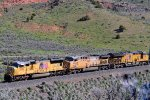Union Pacific #s 3892, 6860 & 2728 (SD70M, AC-4400CW, ET-44AH) lead a westbound intermodal at Castle Rock, UT. May 12, 2019