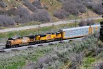 Union Pacific #s 5557 & 8964 (AC-4400CW, SD-70AH) lead a westbound freight train through Echo Canyon, UT. May 12, 2019 (Taken from the I-80 Westbound rest stop)