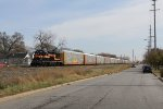 Working the west end of Gibson Yard, 4011 spends the day shuffling autoracks
