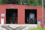 CO 5833 & HVSR 701 sit inside the Hocking Valley Scenic shop