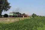 Working hard with a long train, CBFX 6029 leads 39E