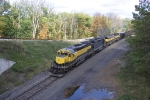 NYSW 3010 and sisters use the dynamic brakes dropping down to Port Jervis
