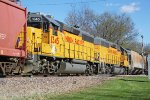 "UP 1345 and 1360 ""mid-train"" on the Janesville local"