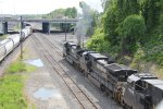NS units making smoke as they drag a train  into Enola yard