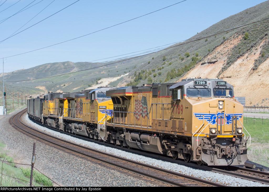 Three GE's lead a coal train down Echo Canyon