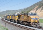 Three GE's lead a coal train down Echo Canyon