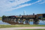 An SLWC train pulls out over Oklahoma River as it switches the yard