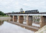NREX 2752 leads two other EMD's across the Oklahoma River