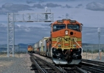 BNSF 5269 West runs around stack train