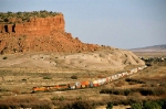 BNSF westbound passes Mesita Indian Reservation