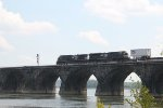 NS 4153 leads a container train onto Rockville bridge